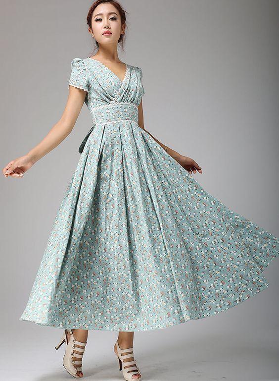 Vestido maxi vestido Floral azul huevo de pato novia por xiaolizi