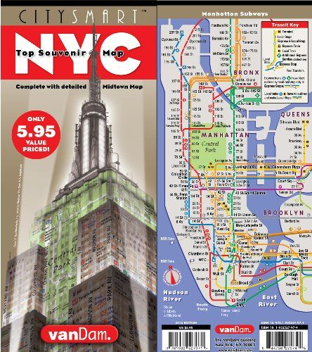 CitySmart NYC Top Souvenir Map by VanDam - Complete with Super Scale Midtown New York City Map