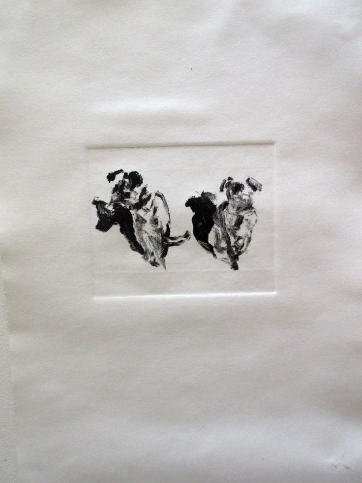 A mono print of the 2 dogs