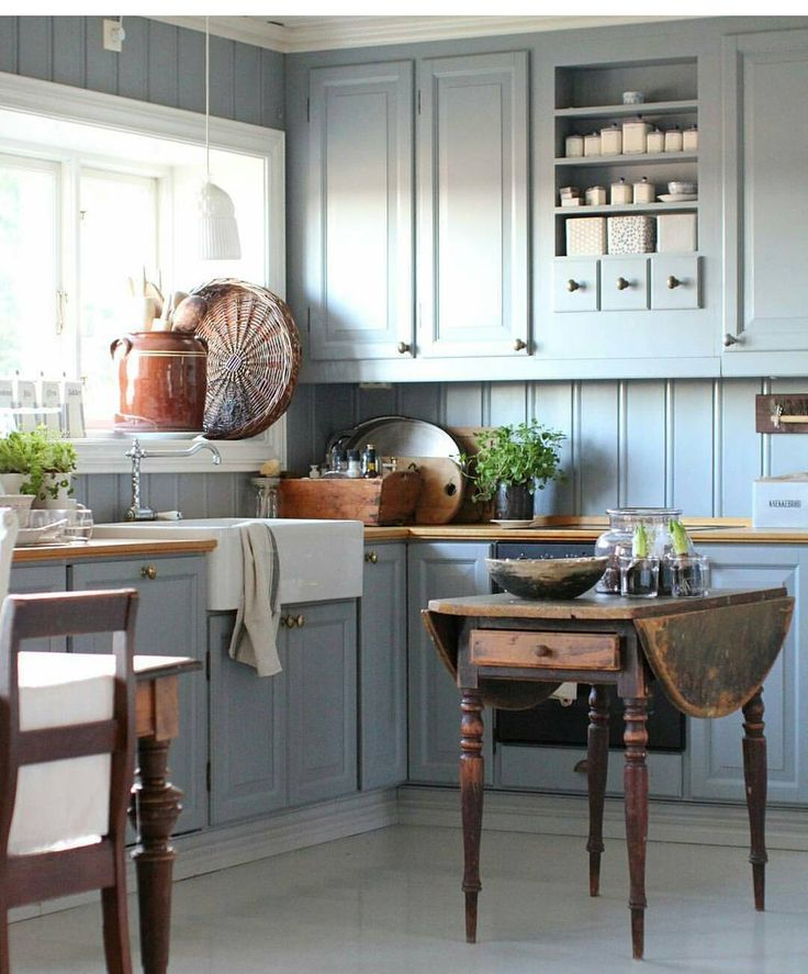 Stunning Kitchen In Slate Blue Love The Cupboard With The Little Drawers