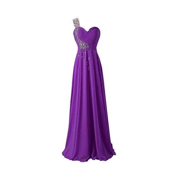 Dresstells Ruffles One Shoulder Evening Party Formal Prom Dress Beaded... ($80) ❤ liked on Polyvore featuring dresses, long chiffon dress, purple formal dresses, purple prom dresses, cocktail prom dress and formal dresses