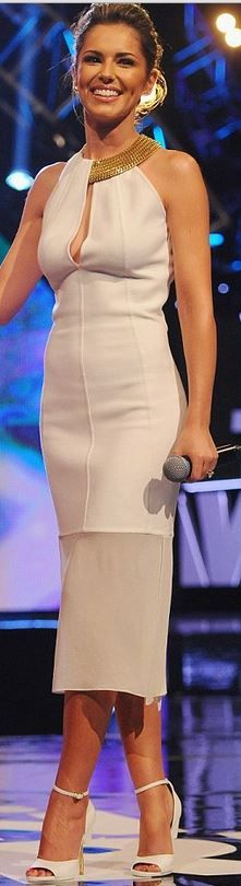 Who made  Cheryl Cole's gold keyhole dress and white sandals