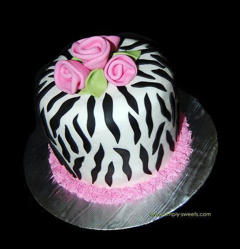 Zebra print cake with pink roses by Simply Sweets, via Flickr