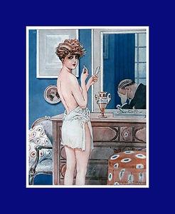 ENGRAVING ART DECO NUDE WOMAN PRETTY MAURICE MILLIERE MARI DISCUSSION POUDRIER
