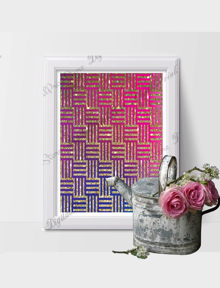 Gold Glitter Fucsia Modern Wall Print Art 01, Modern Decor, Girly Print, Abstract Print by DigitalPrintStore on Etsy