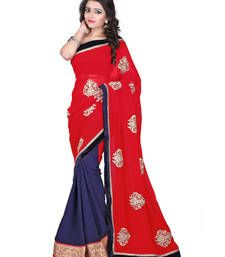 Buy Heart & Soul Designer, Stylish Georgette With TQ Butta Printed saree With Blouse for women (Navy Blue) party-wear-saree online