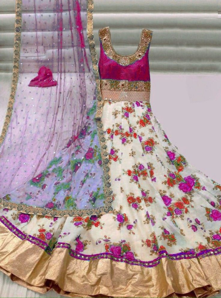 Bhagalpuri+Silk+Machine+Work+Cream+&+Pink+Floral+Print+Semi+Stitched+Long+Anarkali+Suit+-+PAL at Rs 1449