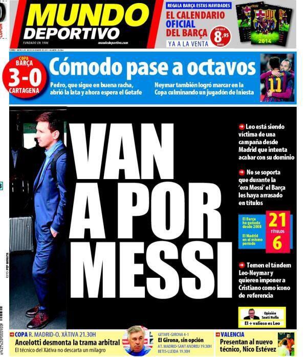 #Portada MD miércoles 18 de diciembre 2013 #FCBarcelona #Barça #Barcelona #igersFCB #Messi