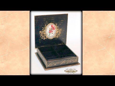 Внутренняя отделка шкатулок. Декор внутренней поверхности крышки шкатулки - YouTube