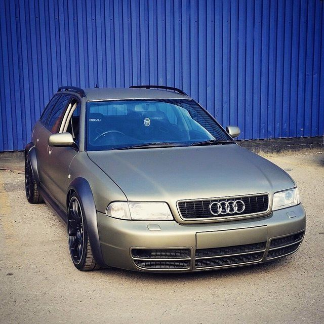 """FOR SALE '98 audi b5 s4 quattro avant 2.7 v6 Bi-Turbo private reg included """"R8PUD"""" 131k with recent cambelt, water pump and thermostat change (within last 200 miles) Audi service history Mot till Apr 2016 Wrapped In avery supreme midnight sand matte metallic by Vinyl Image back in July 2014. (Car is originally silver). Maintained and Waxed with swissvax opaque collection Modified C5 all road arches and modified rs4 sideskirts Painted in a satin grey metallic. There has been coun..."""