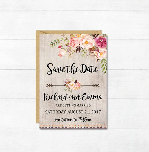 Boho Floral Save the Date Card Printable by simplypstationery