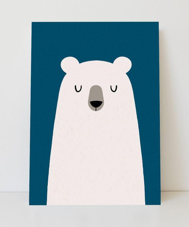 Lámina oso con fondo azul