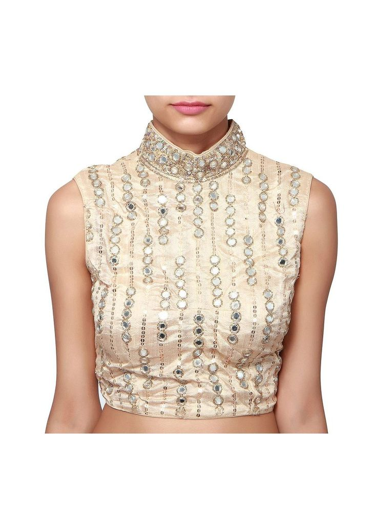 Kalki Fashions Beige blouse adorn in sequin and mirror embroidery #SareeBlouse #HighNeck