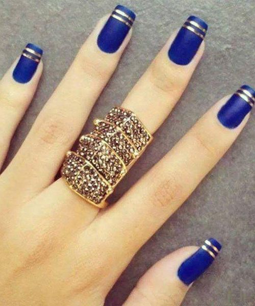 Chic Blue with Golden Strip Nail Art Design for Prom