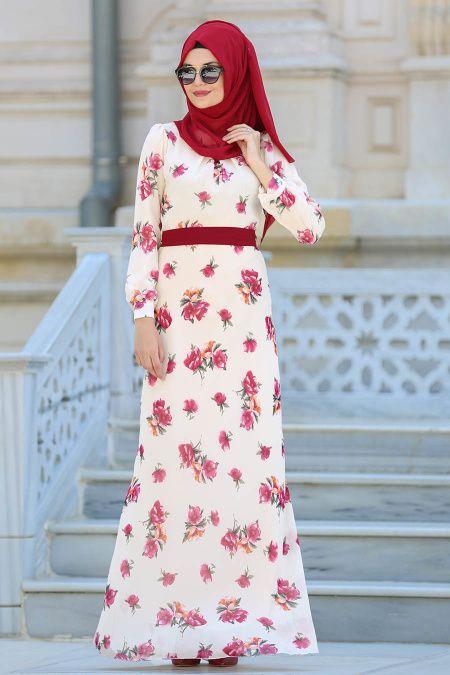 NEVA STYLE - Neva Style - Desenli Bej Tesettür Elbise 76937BEJ