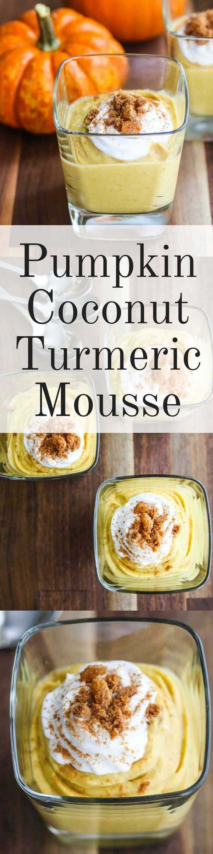 Pumpkin Coconut Turmeric Mousse - this decadently healthy dessert has just 6 ingredients and is so easy to make ~ http://jeanetteshealthyliving.com