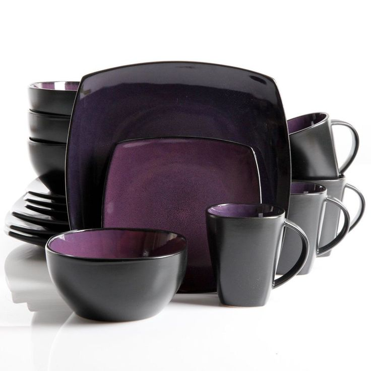 16 Pc Purple Dinnerware Stoneware Square Kitchen Dishes Plates Salad Bowls  Mugs