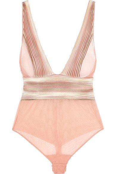 La Perla | Nervures satin-trimmed stretch-tulle bodysuit | NET-A-PORTER.COM