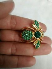 Хороший винтаж Джоан Риверс зеленый изумруд кристалл паве золотой тон пчела заколка брошь