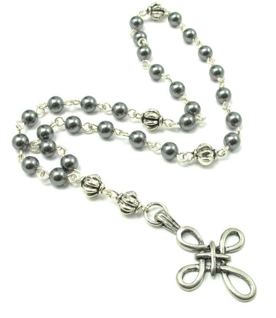 Anglican Prayer Beads with Gray Swarovski Pearls by byBrendaElaine