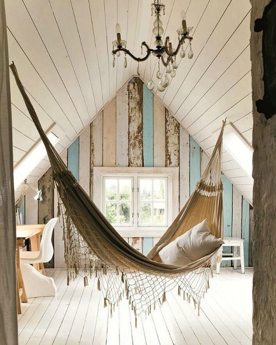 Lounge beach style with a hammock! For the porch, backyard and inside: http://beachblissliving.com/hammock/