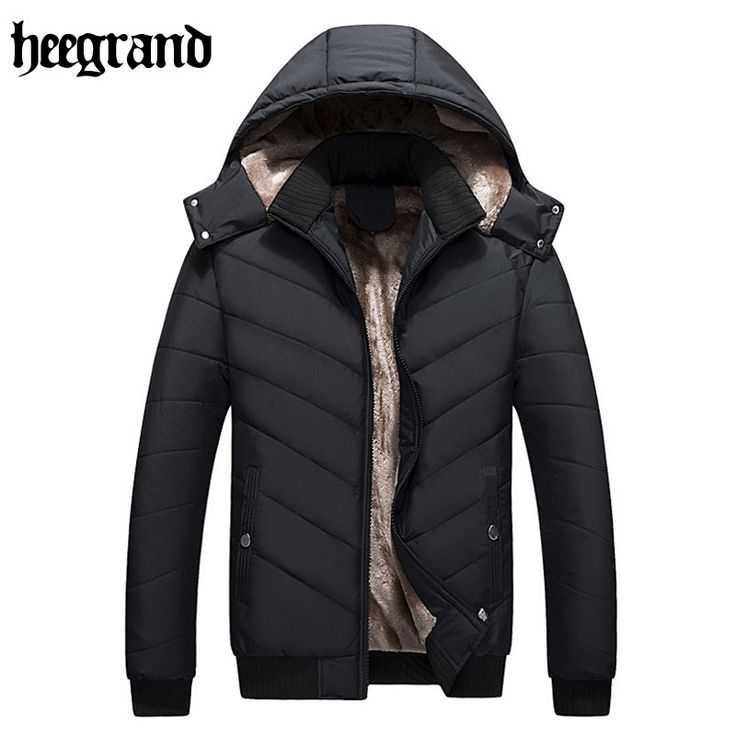 33.51$  Buy here  - HEE GRAND 2017 Man Winter Warm Jacket Thick Cotton Hat CanBe Men Parka Coat Black Fashion Hooded MWY188