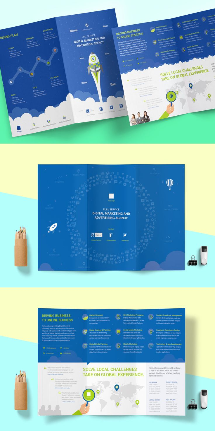 Digital Marketing & Advertising Agency Brochure Template AI, INDD, EPS