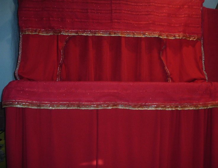 "Puppet booth with gold trim. 54"" wide, 13"" deep and 6ft high little gem puppets"