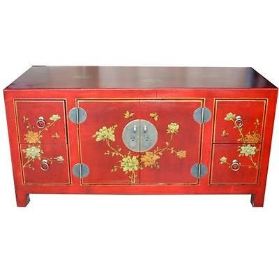 TV Cabinet/Low Sideboard   New Oriental Red Flower And Bird Painted (TC 1R)