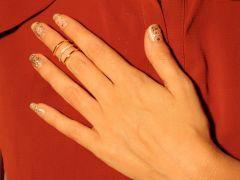 Altın Sarısı, 3 Sıra, Zirkon Taşlı Bayan Abiye Ayarlanabilir Eklem Yüzük
