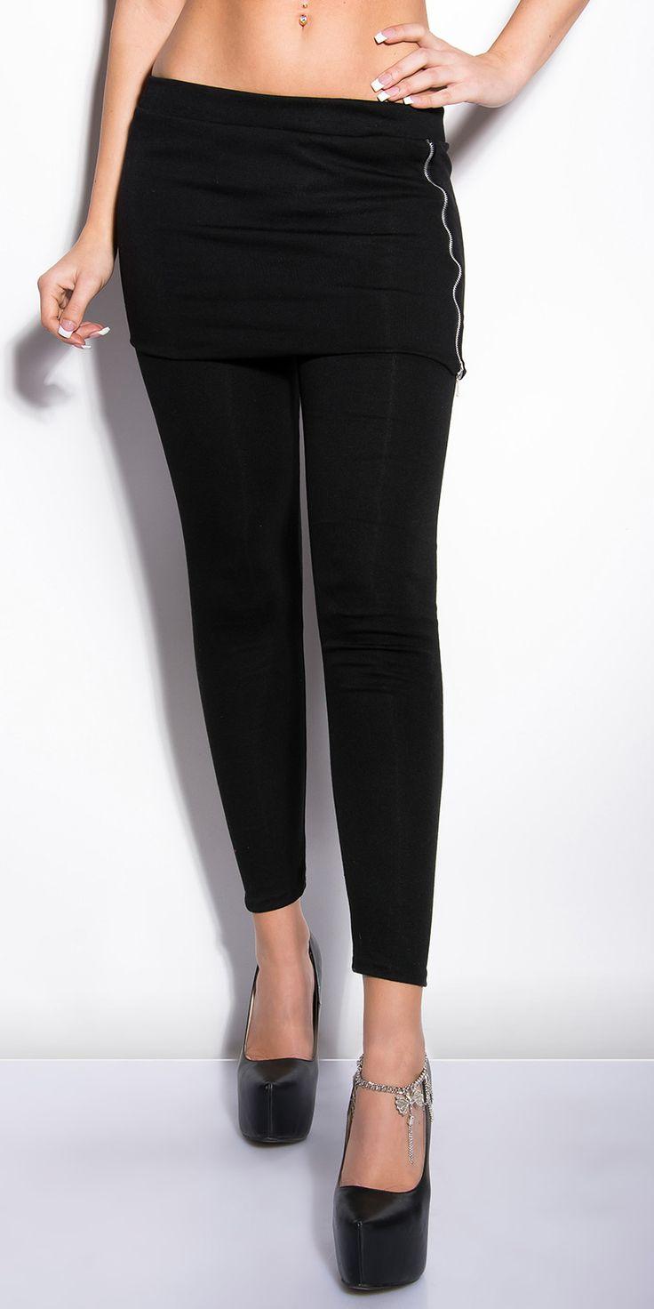 leggings avec jupette noir