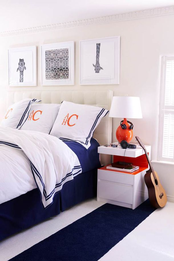 Navy & orange is a perfect palette for a boy of any age! Not TOO hard to keep clean looking!