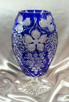 Vintage Bohemian Cobalt Blue Cut to Clear Crystal Vase Grape Design Czech | eBay