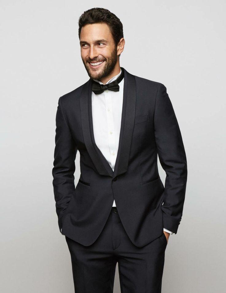 Town & Country, January 2014 (USA): Noah Mills wearing a Ferragamo tailored tuxedo.