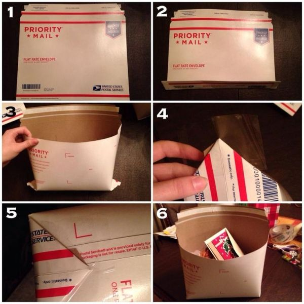 A lady at the post office taught me this trick and I have realized very few people know about it!  You can turn a flat rate envelope into a pouch to increase the capacity. It holds more than a small flat rate box ($5.80) and about as much as a medium ($12.35) for only $5.60. So worth it! I do this all the time! Just fold the bottom both ways, and flatten it out from the inside, folding the corners and taping them up into a rectangular bottom. Secure with lots of tape. Happy shipping! by…