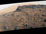 """This March 27, 2015, view from the Mast Camera (Mastcam) on NASA's Curiosity Mars rover shows a site with a network of prominent mineral veins below a cap rock ridge on lower Mount Sharp. At this """"Garden City"""" site, the veins have been more resistant to erosion than the surrounding host rock."""