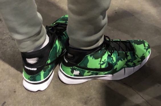 68b48749412c Giannis Antetokounmpo Spotted With The UNDEFEATED x Nike Zoom Kobe 1 Protro  Green Camo Devin Booker