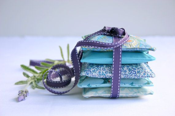 Time for some pampering... Mixed Teal Set of 5  Lavender Sachets  Lavender by 20FourAcres