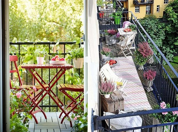 A balcony with a picnic table and chairs is something I would definitely strive for!