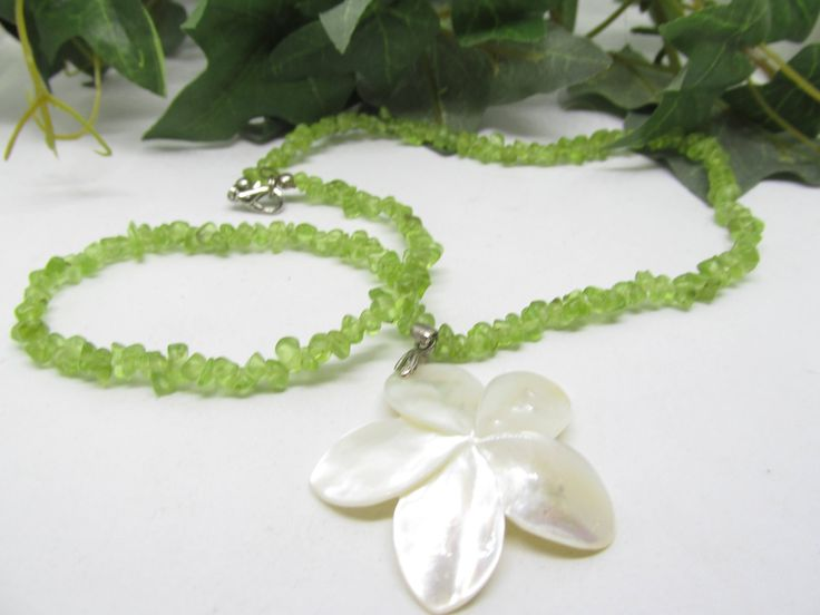 Vintage Hand Carved Mother Of Pearl Flower Pendant Necklace With Beaded Single Strand Peridot Chip Bead Necklace Floral MOP Pendant Necklace