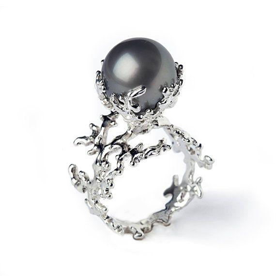 WHITE CORAL Tahitian Pearl Ring Black Pearl Engagement Ring by arosha, $1750.00