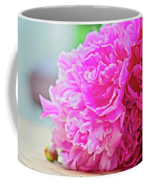 Anna Maloverjan Coffee Mug featuring the photograph Pink Peony Beauty by Anna Maloverjan  #peony #petals #flower #flowers #tender #delicate #tenderness #macro #blossom #pink #flora #soft #blossom #plant #bloom, #closeup #floral #flora #elegance #FramedPrints #CanvasPrints #MetalPrints #AcrylicPrints #Prints #HomeDecor #FineArtPhotography #FineArtPrint #PrintsForSale #Art #GiftIdeas