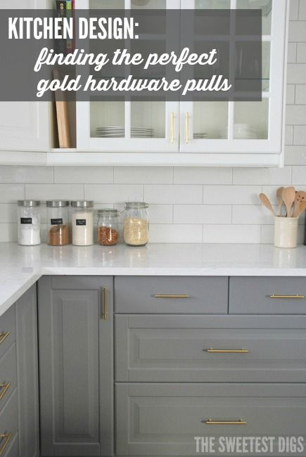 Designing a kitchen? Here's how we found the perfect gold hardware pulls for our kitchen and installed them ourselves. They go beautifully with the gray and white cabinets, and marble quartz countertop. Click for the full tutorial and source links!