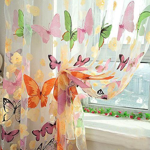 parte da borboleta cortina sheer painel janela quarto divisor