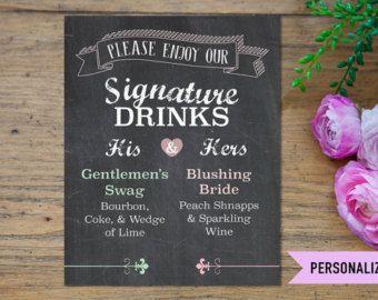 Firma bebida signo letrero de pizarra boda tomar por WeddedAccents