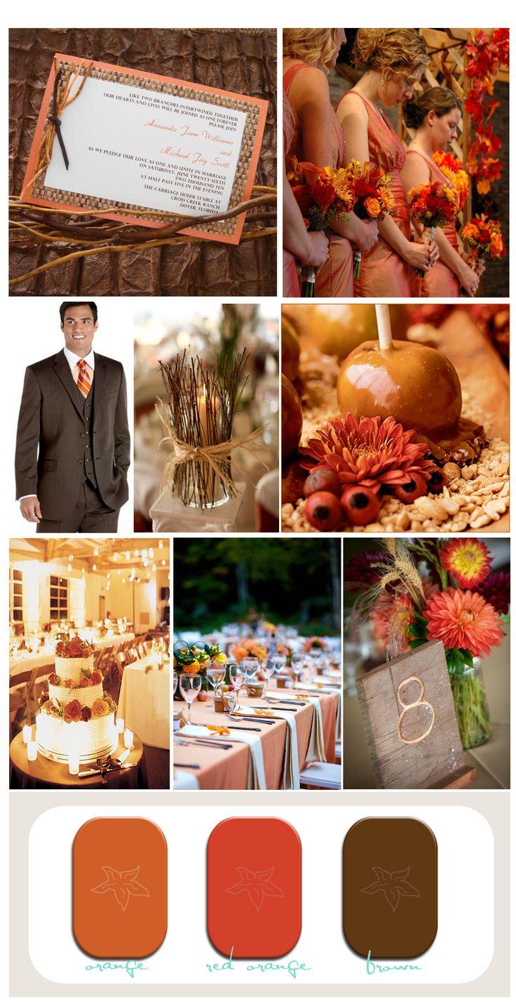 Rustic Fall Wedding Decor - Rusticweddinf decorations fall orange red and brown rustic wedding inspiration board beach