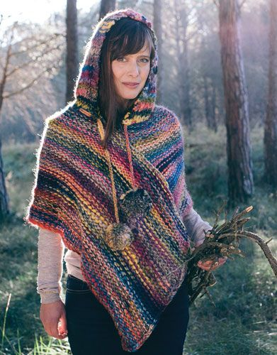 Book Beginners 4 Autumn / Winter | 43: Woman Poncho | Black-Rose-Yellow-Blue