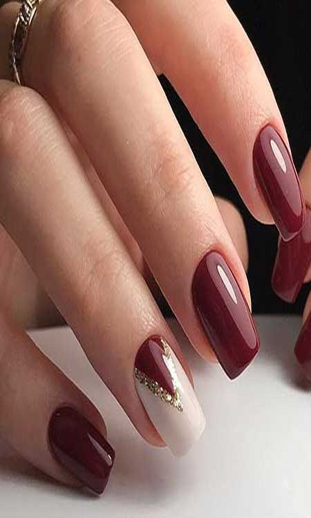 Burgundy Nails With Gold Glitter Simple Design Beautiful Nails