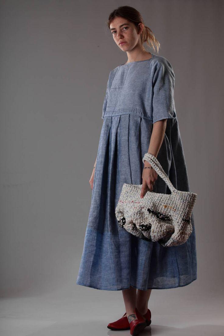DANIELA GREGIS - Multicolour Short Bucket Handbag In Heavy Crocheted Linen And Cotton :: Ivo Milan
