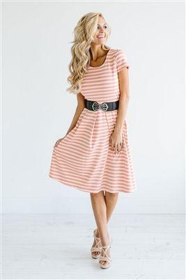 Peach White Stripe Modest Dress Down East Basics,
